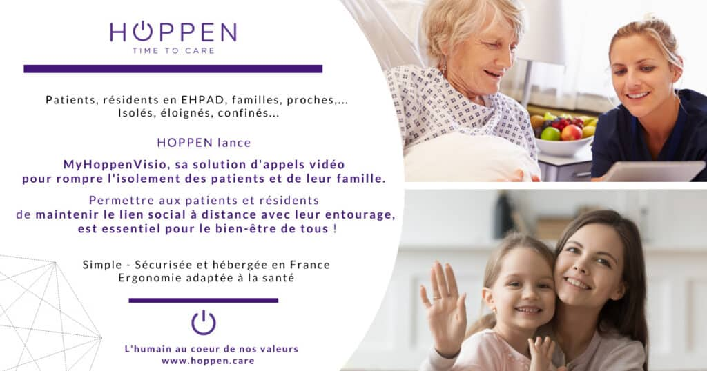 HOPPEN lance MyHoppenVisio, sa solution d'appels vidéo pour rompre l'isolement des patients et de leur famille. Permettre aux patients et résidents de maintenir le lien social à distance avec leur entourage, est essentiel pour le bien-être de tous !
